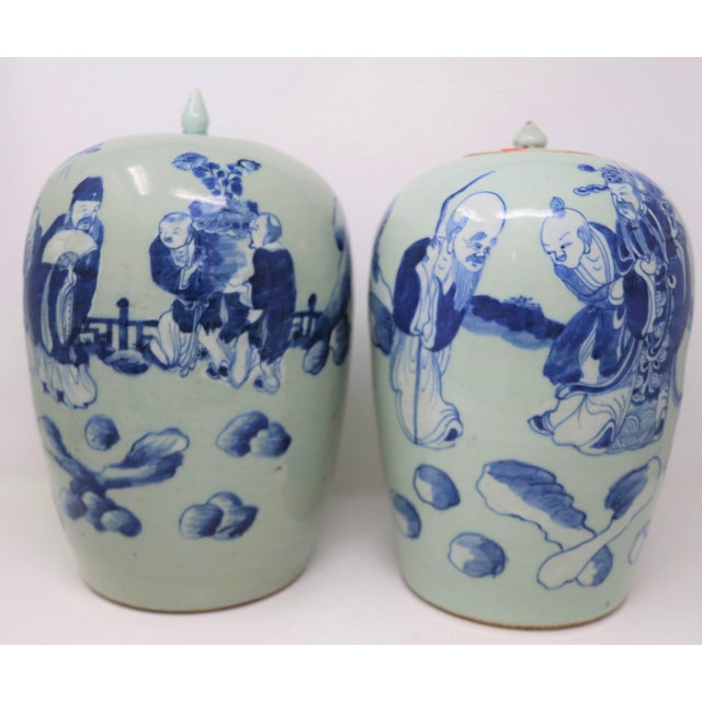 Mid 20th Century Chinese Lidded Ginger Urns - a Pair For Sale - Image 5 of 5