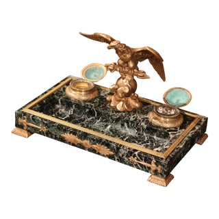 Early 20th Century French Inkwell with Bronze Eagle and Mounts on Green Marble
