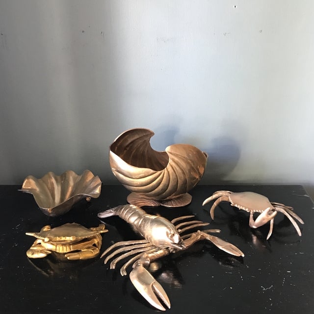 1970s Vintage Brass Ocean Creatures Collection - Set of 5 For Sale - Image 10 of 10