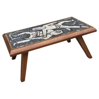 Mid-Century Modern Mosaic Tile Top Coffee Table For Sale