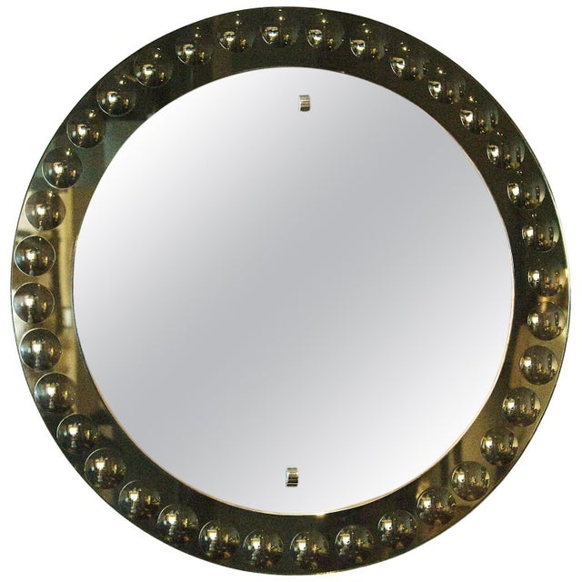 Glass 1950s Round Mirror, Intaglio Grey-Green Mirror Frame - Italy For Sale - Image 7 of 7