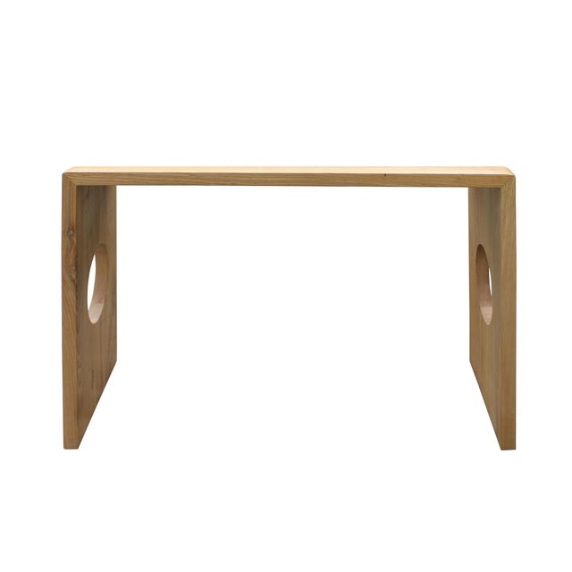 Asian Oriental Zen Unfinished Wood Slim Open Side Table For Sale - Image 3 of 8