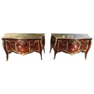 King & Queen Marble-Top Commodes - A Pair