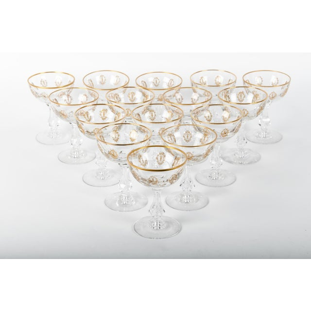 1930s Vintage Set 15 Cut Crystal Champagne Coupes/Martini For Sale - Image 5 of 5