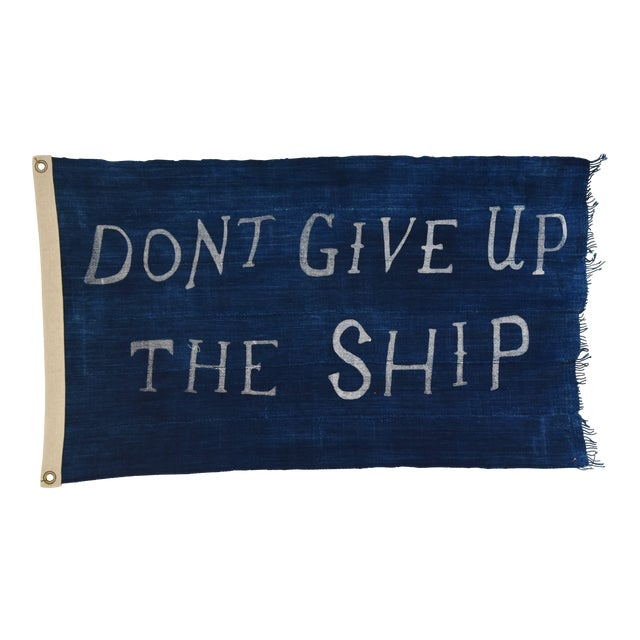 "Boho Chic Nautical Themed Indigo Blue/White African Textile Flag 35"" X 21"" For Sale"