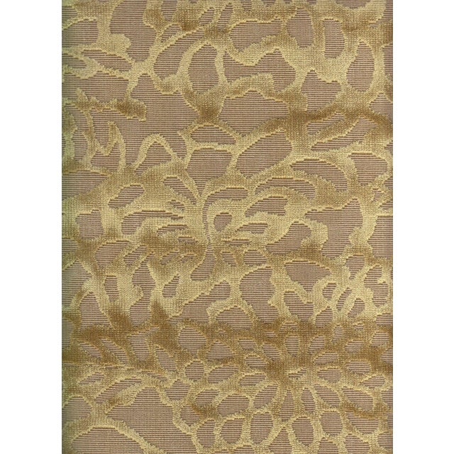 Lee Jofa Foglia Floral Velvet in Camel - 3.875 Yards For Sale