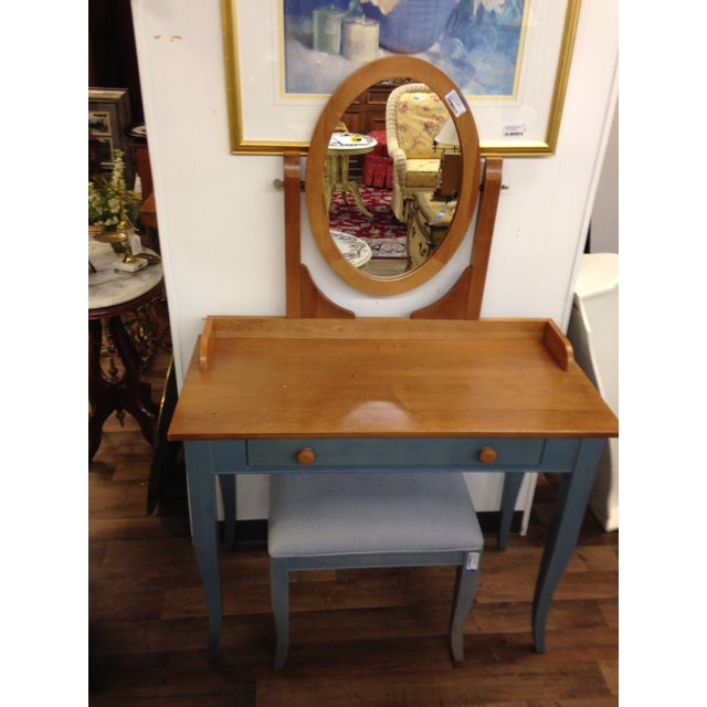 Ethan Allen Country Blue Vanity With Bench - Image 5 of 8