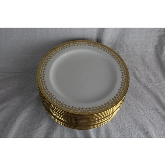 Cauldon Cauldon English Gold Band Porcelain Dinner Plates - Set of 12 For Sale - Image 4 of 5