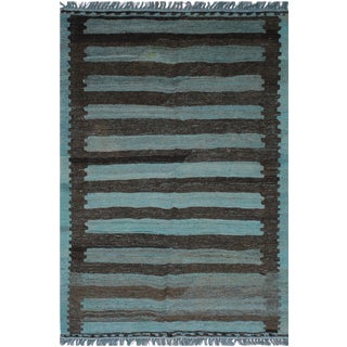 Boho Chic Camie Hand-Woven Kilim Wool Rug - 3′7″ × 4′10″ For Sale