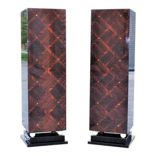 1940s French Art Deco Exotic Macassar Ebony Pedestals with M-O-P Accents - a Pair For Sale