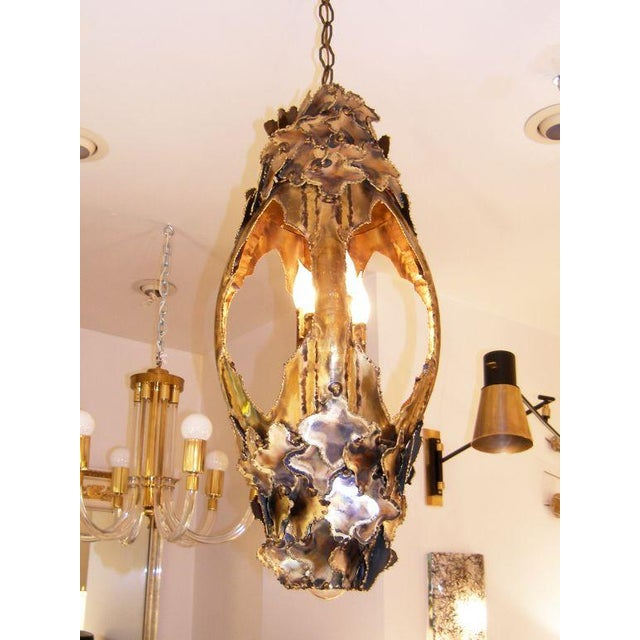 Brass T.A. Greene Chandelier For Sale - Image 7 of 9