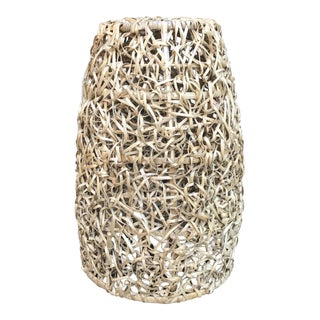 Modern Bird Nest Rattan Light Fixture Shell Shade For Sale