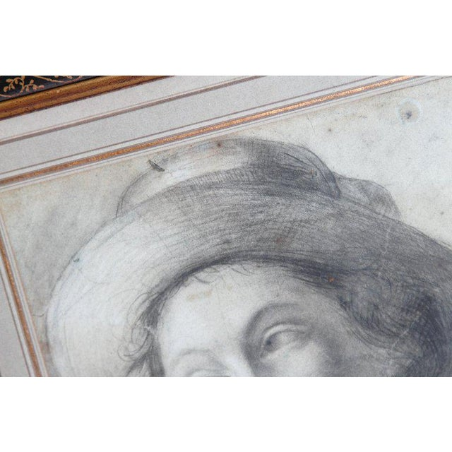 18th Century Charcoal Drawing of a Young Lady Wearing a Hat For Sale - Image 4 of 13