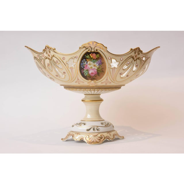Ceramic 19th Century Old Paris Porcelain Centerpiece, Hand-Painted Florals For Sale - Image 7 of 11