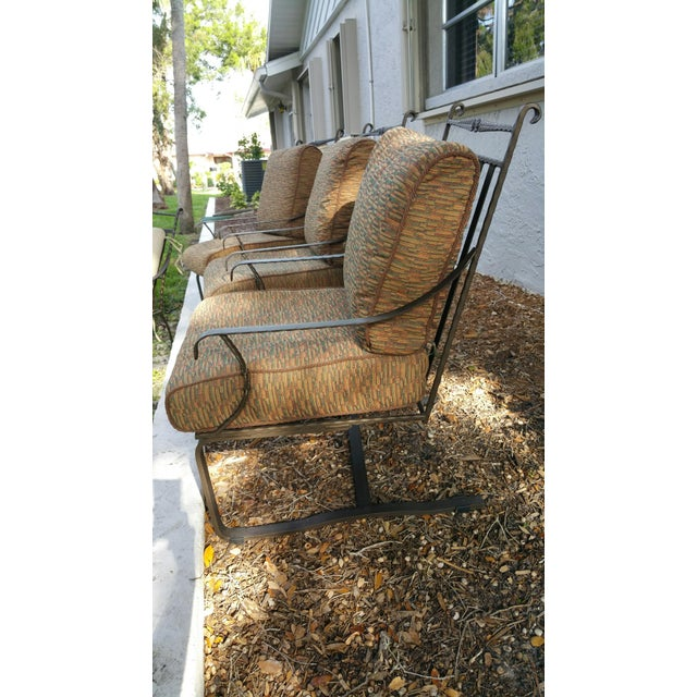 Hand Forged Wrought Iron Patio Lounge Chairs - Set of 4 - Image 3 of 7