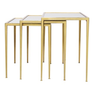 Set of Three Münchner Werkstätten Brass and Mirror Glass Nesting Tables For Sale