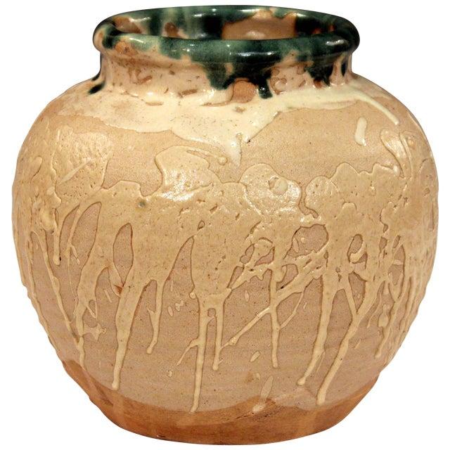 Vintage Awaji Pottery Large Japanese Jar Dripped and Splashed Glaze Vase For Sale