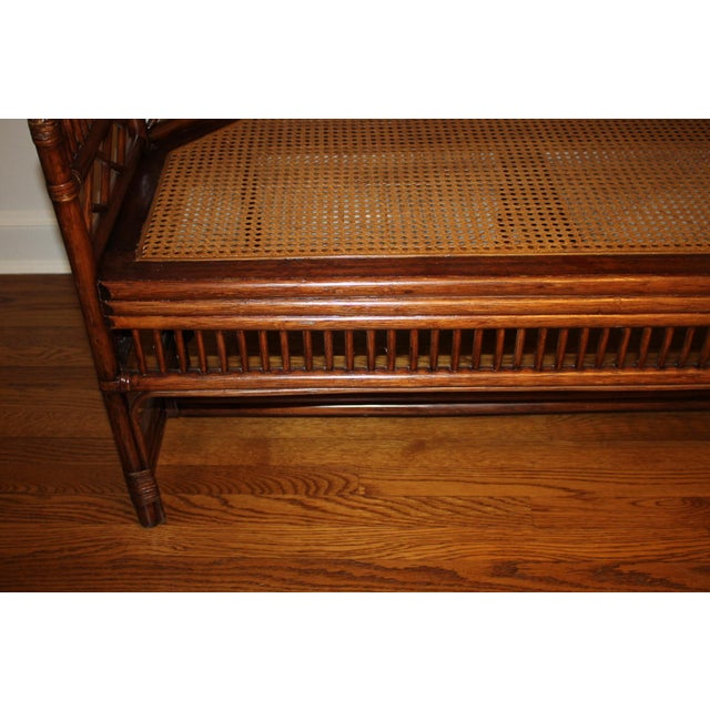 Vintage Mid Century Bamboo Rattan Pavilion Brighton Chinoiserie Chippendale Settee For Sale - Image 10 of 13
