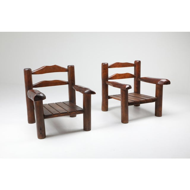 1950s Rustic Wooden Wabi Sabi Lounge Chairs For Sale - Image 4 of 11