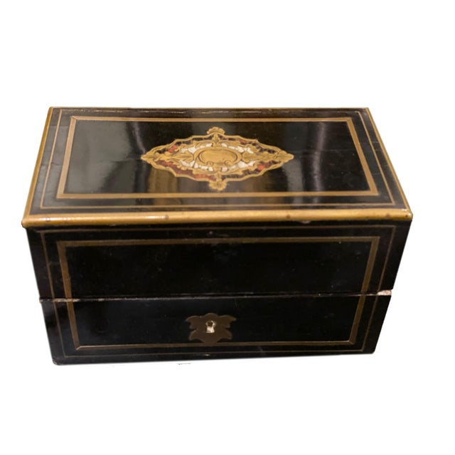 Black Perfume Box With Three Gilt Painted Perfume Bottles - 4 Pieces For Sale - Image 8 of 10