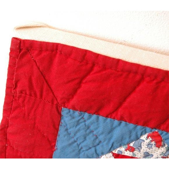 Cotton 1930s Red, White and Blue Doll Quilt For Sale - Image 7 of 9