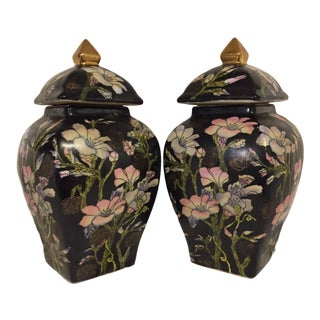 Qian Long Export Floral Ginger Jars - a Pair For Sale