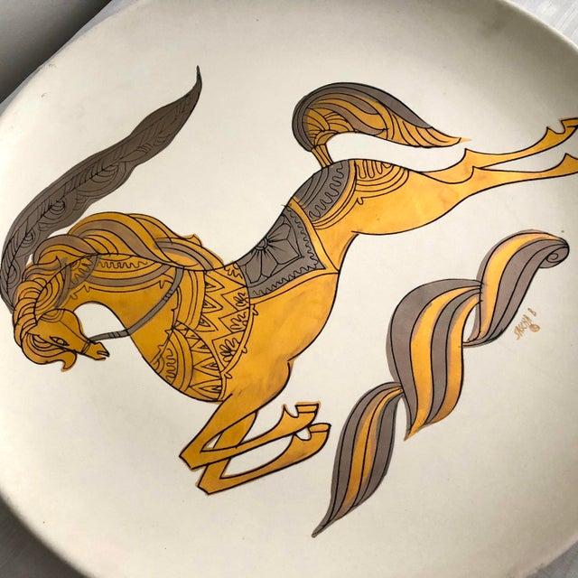 """Signed Sascha Brastoff Vintage Mid-Century 16"""" Gilded Enamel Charger For Sale In San Francisco - Image 6 of 11"""