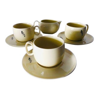 1930's Midcentury w.s George China Teacups, Saucers & Creamer 7 Pieces Tea Set For Sale