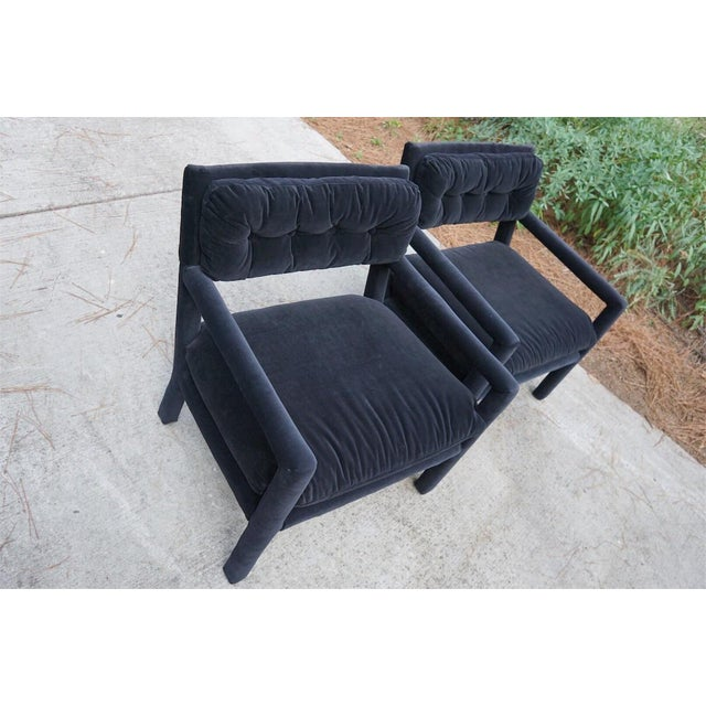 Baughman Style Black Velvet Open Arm Chairs - A Pair - Image 4 of 8
