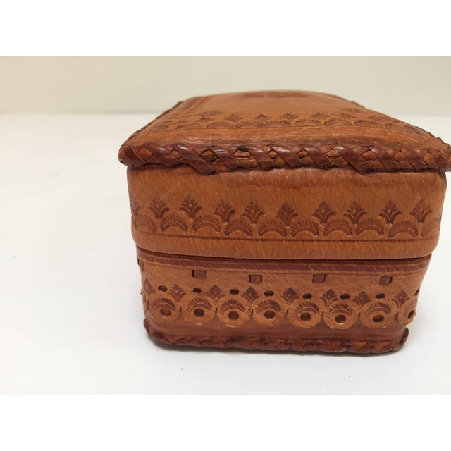 Leather Vintage Brown Box Hand Tooled in Morocco With Tribal African Designs For Sale - Image 12 of 13