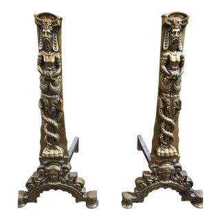 Bronze Renaissance Style Chenets, circa 1850 - A Pair For Sale