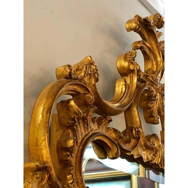 French Pair of Louis XV Style Gilt Wall Console or Pier Mirrors With Beveled Glass For Sale - Image 3 of 12