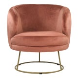 Image of Acovet Mauve Rose Velvet Tub Chair in Rose For Sale