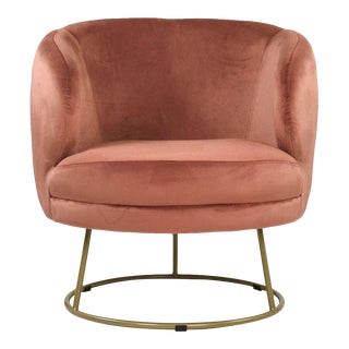 Acovet Mauve Rose Velvet Tub Chair in Rose For Sale