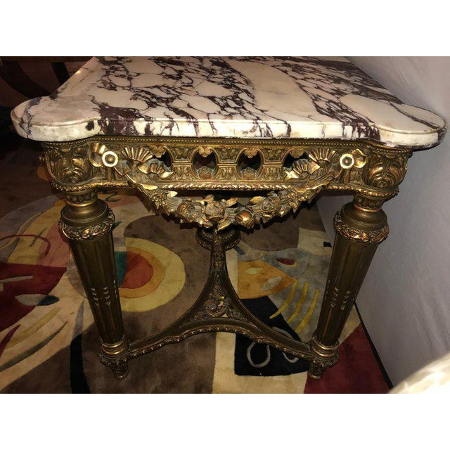 French Louis XVI Style 19th Century Giltwood Marble-Top Centre Table For Sale - Image 4 of 13