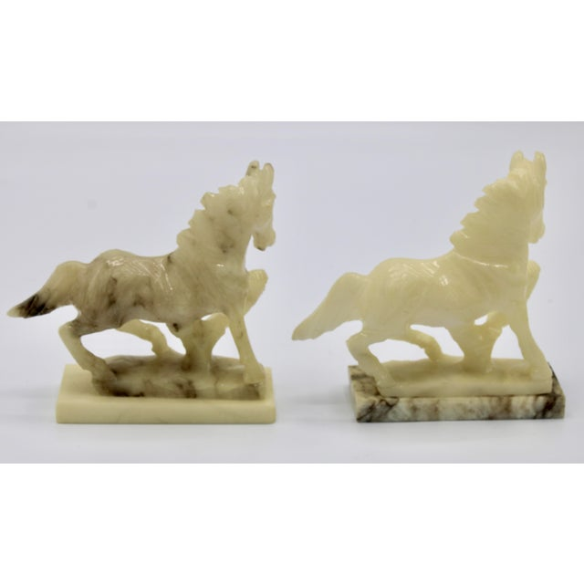 Mid-20th Century Italian Alabaster Mantle Horse Bookends - a Pair For Sale - Image 10 of 13
