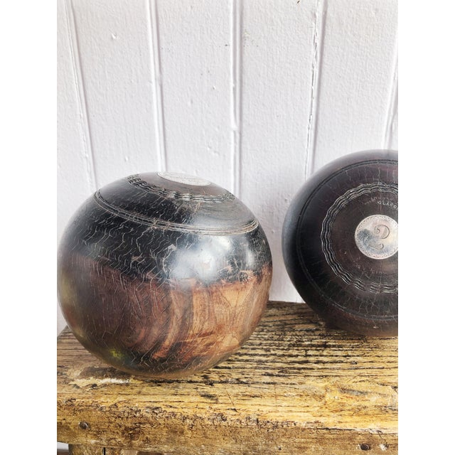 Pair of Antique 1911 Sterling & Wood Trophy Lawn Bowling Balls For Sale - Image 4 of 10