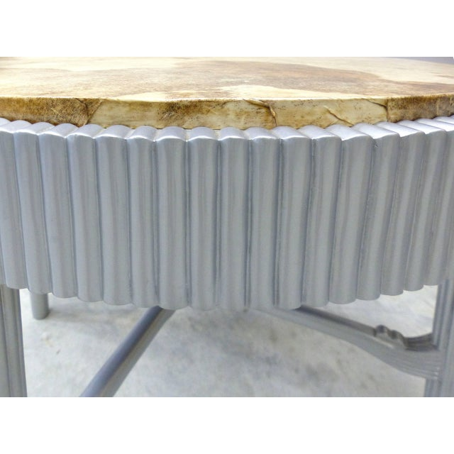 Albert Rateau French Art Deco Lacquered Tables With Goatskin Tops, Pair For Sale In Miami - Image 6 of 11
