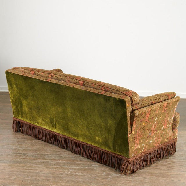 1950s Maison Jansen Sofa with Original Jacquard Tapestry Upholstery and fringe with a green velvet back. Sofa is from a...