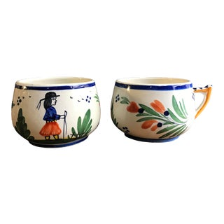 Early 20 Century French Quimper Pottery Tea Cups - a Pair For Sale