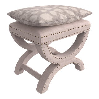 Designer Upholstered X Form Bench For Sale