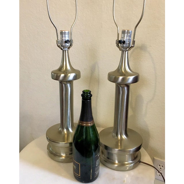 Mid-Century Modern Vintage 1960's Laurel Stainless Steel Lamps - a Pair For Sale - Image 3 of 6