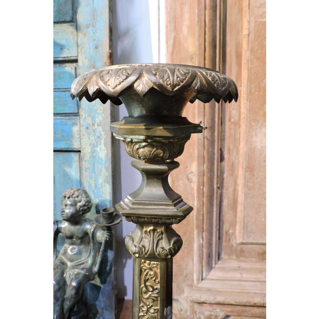 Anonymous French Gilded Church Candlestick With Christian Symbols For Sale - Image 4 of 6