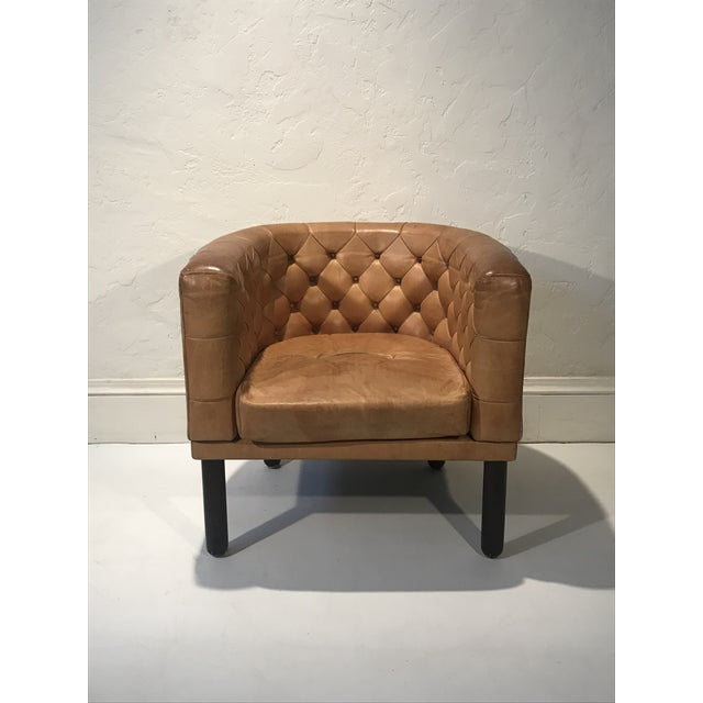 1960s Vintage Cassina Figli DI Amedeo Tufted Leather Club Chair For Sale - Image 12 of 12