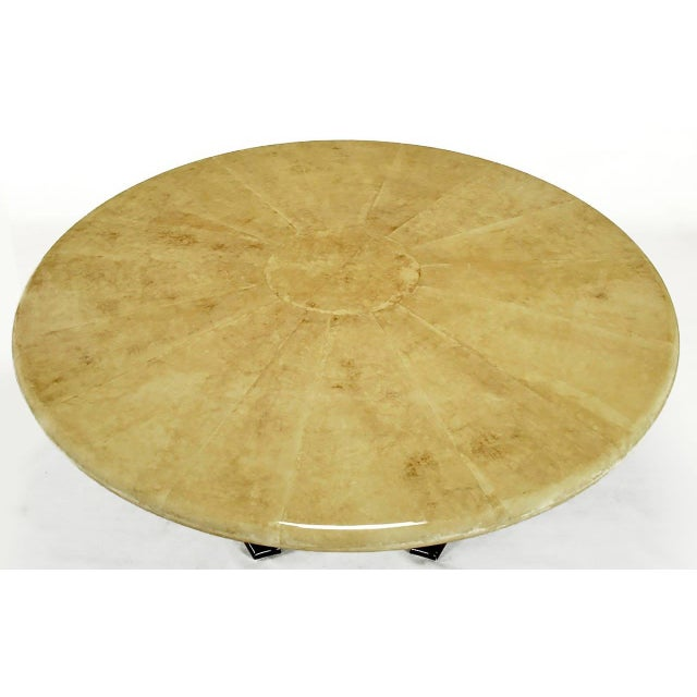 Empire Dining Table with Sunburst Goatskin Top and Chocolate Lacquer Base For Sale In Chicago - Image 6 of 9