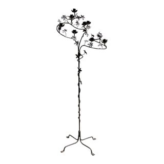 Guatemalan Custom Made Flower Tree Shaped Wrought Iron 9-Candle Candelabra For Sale