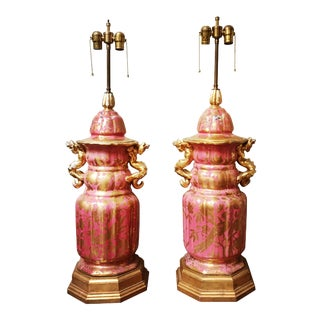 Monumental Paris Porcelain Jars Mounted as Lamp Bases - a Pair For Sale