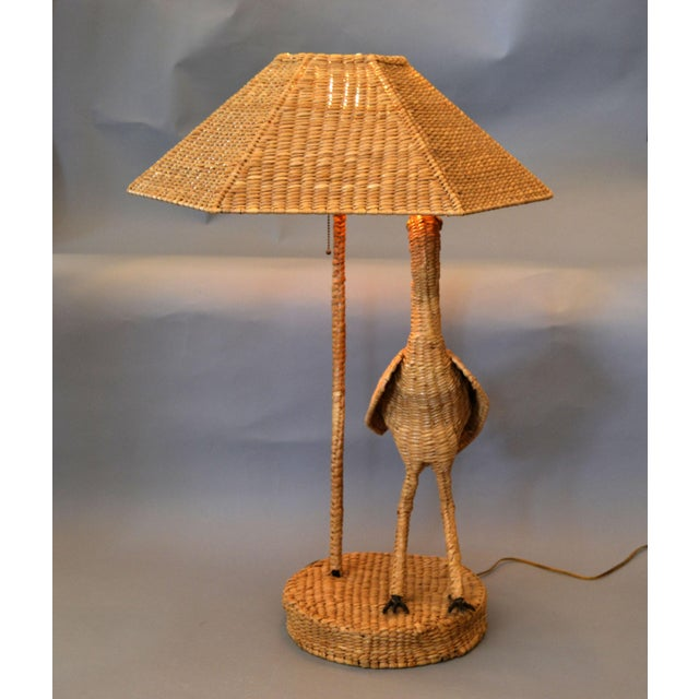 Boho Chic Vintage Mario Lopez Torres Egret Wicker Rattan Table Lamp, 1974 For Sale - Image 3 of 13