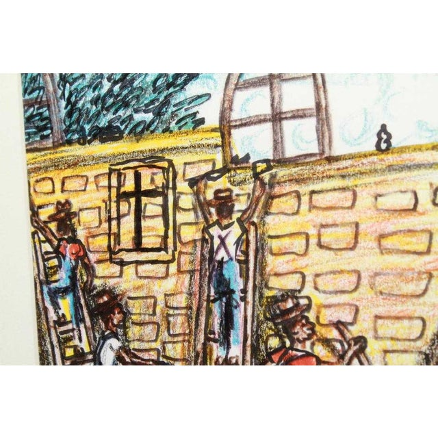 Vintage Alvin Batiste Outsider Art Southern Pencil & Ink Drawing For Sale - Image 4 of 6