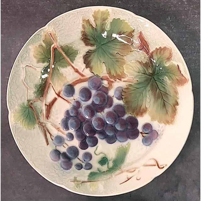 Early 20th Century St. Clement French Faience Majolica Fruit Plates - Set of 6 For Sale - Image 5 of 10